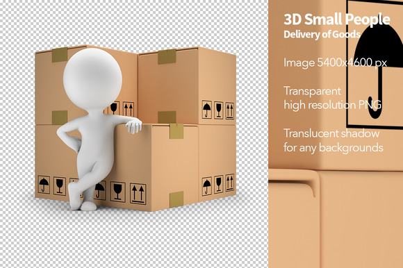 3D Small People Delivery Of Goods