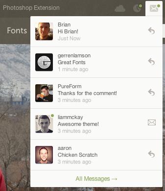 User Menu - Messages