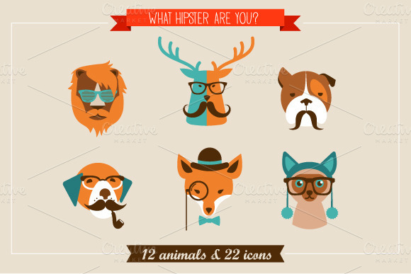 Hipster Animals and Icons by Marish