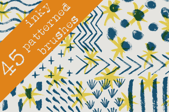 45 Inky Patterned Brushes by KatieAllen