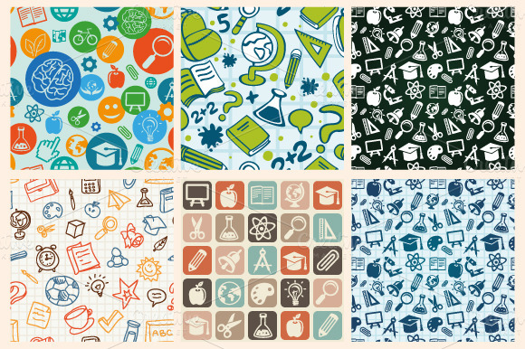 Back to school - icons and patterns by venimo