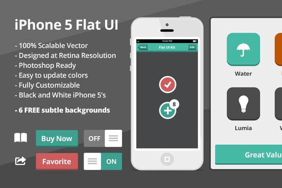 Flat iOS UI Kit by ODDS and ENDS