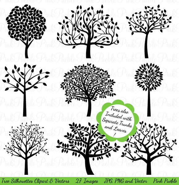 Tree Silhouettes Clipart and Vectors by Pink Pueblo