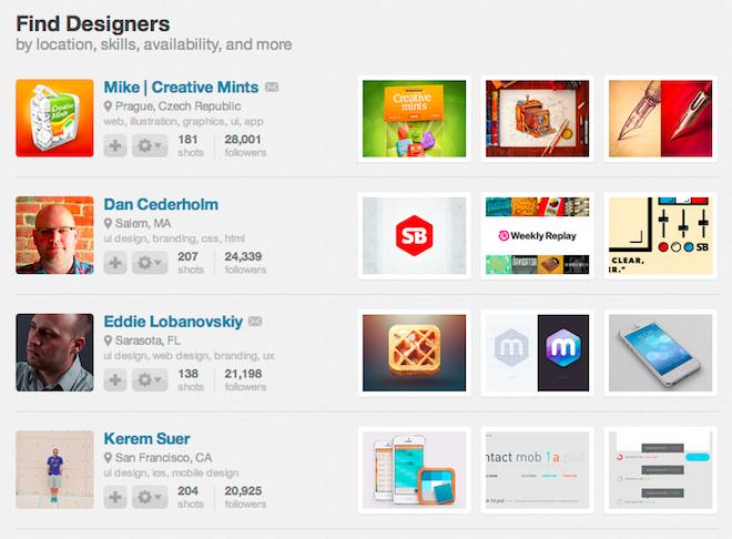 Dribbble Find Designers