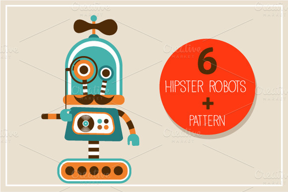 Hipster Robots and Pattern by Marish