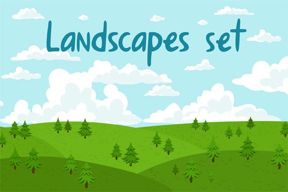 Landscapes Set by Stolenpencil