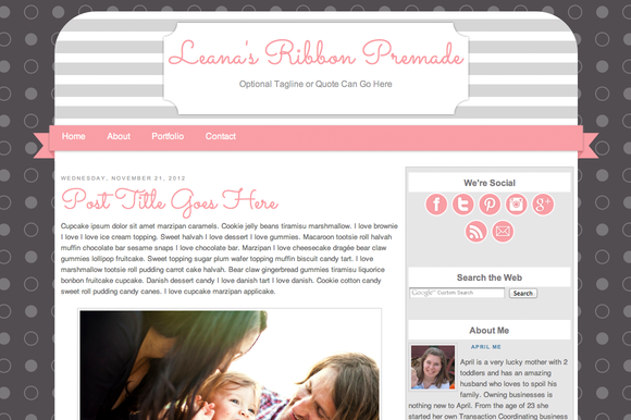Leanas Ribbon Pink Theme by A Mommys Blog Design