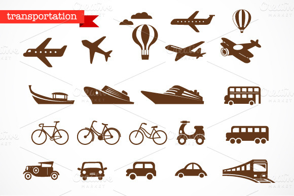 Transportation vector icons set by Marish