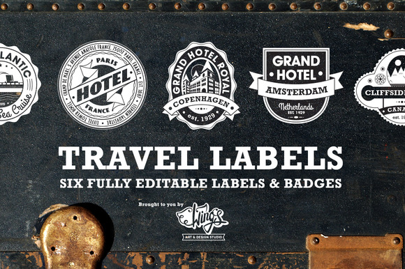 Travel Labels and Badges by Wings Art Studio
