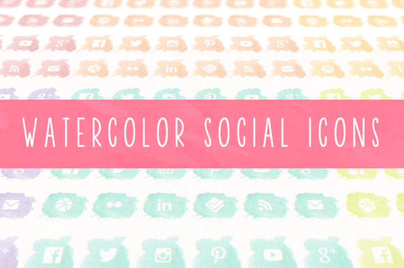 Watercolor Social Icons by The Pixelista