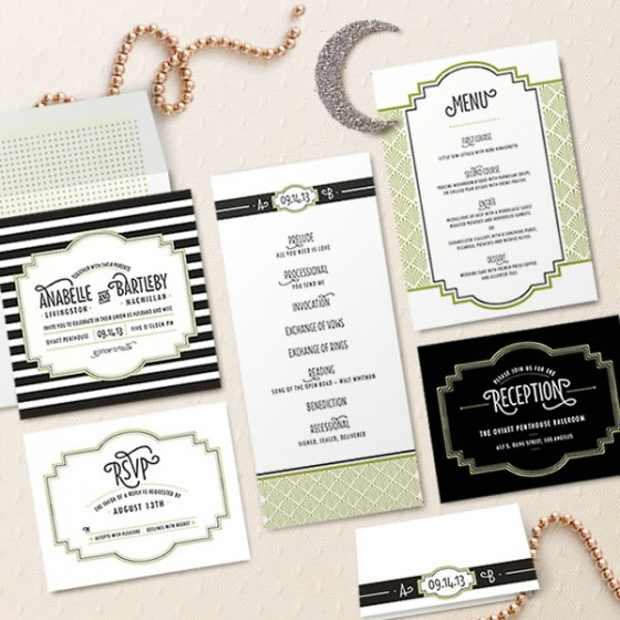 Design Your Perfect Wedding Invitations Art Deco Gatsby Style