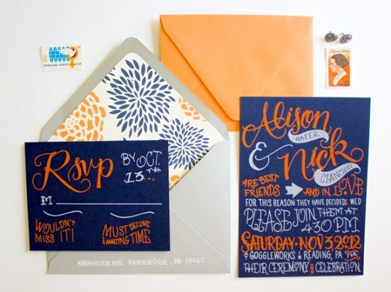 Navy-Orange-Hand-Lettered-Wedding-Invitations-Faye-Co3-550x411