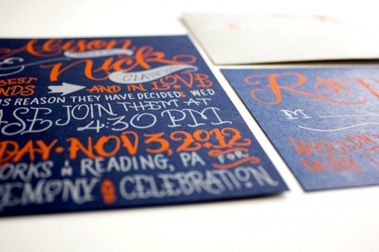 Navy-Orange-Hand-Lettered-Wedding-Invitations-Faye-Co6-550x366