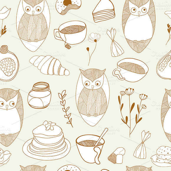 Owls tea party pattern