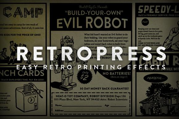 RetroPress - Photoshop Actions