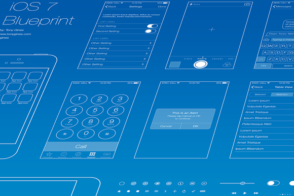 iOS 7 Wireframe Blueprint