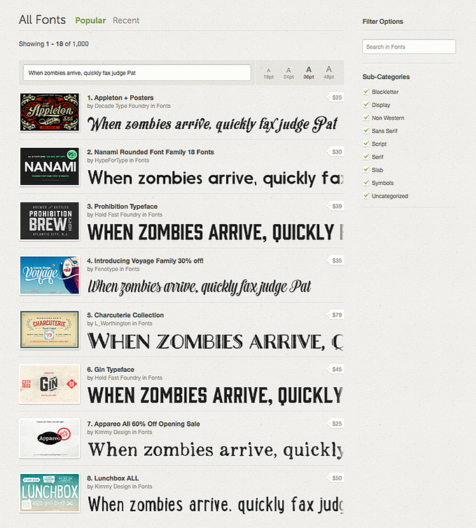 Browse Font Preview