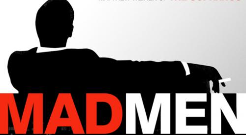 Don draper sits smoking cigarette - Mad Men logo