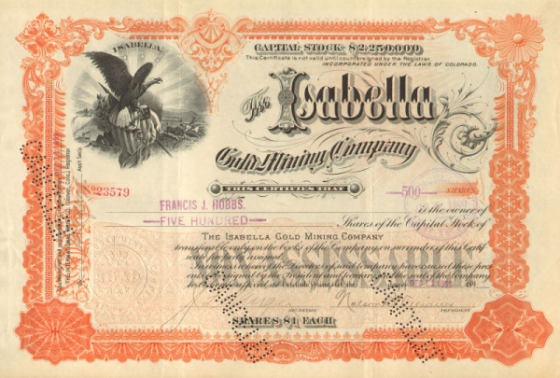 Stock Certificate from 1899