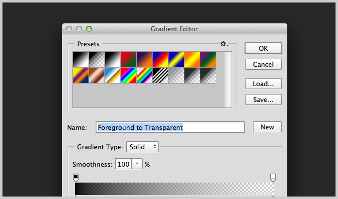 Gradient Adjustment Layer in Photoshop.