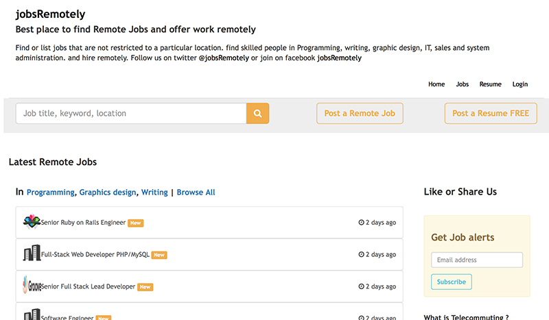1. JobsRemotely