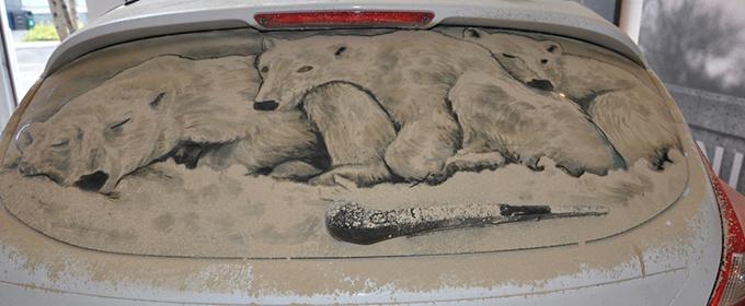 Lukisan kaca mobil kotor 10