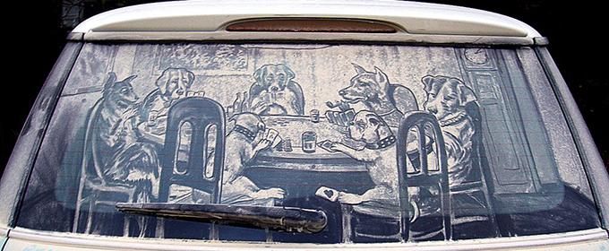Lukisan kaca mobil kotor 3
