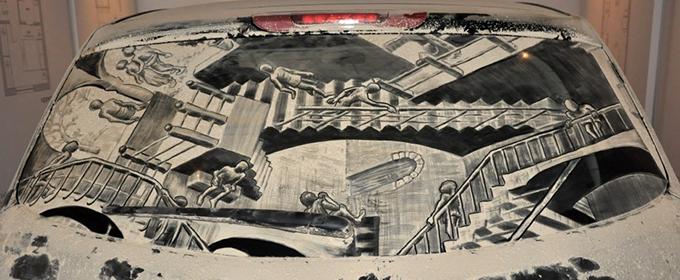 Lukisan kaca mobil kotor 8