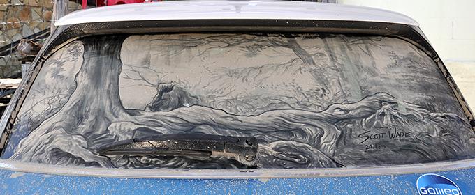 Lukisan kaca mobil kotor 9