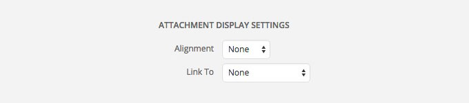 wordpress display attachment settings link to none