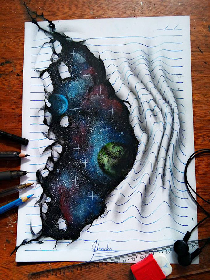 this self taught teenager draws mind bending 3d art with regular