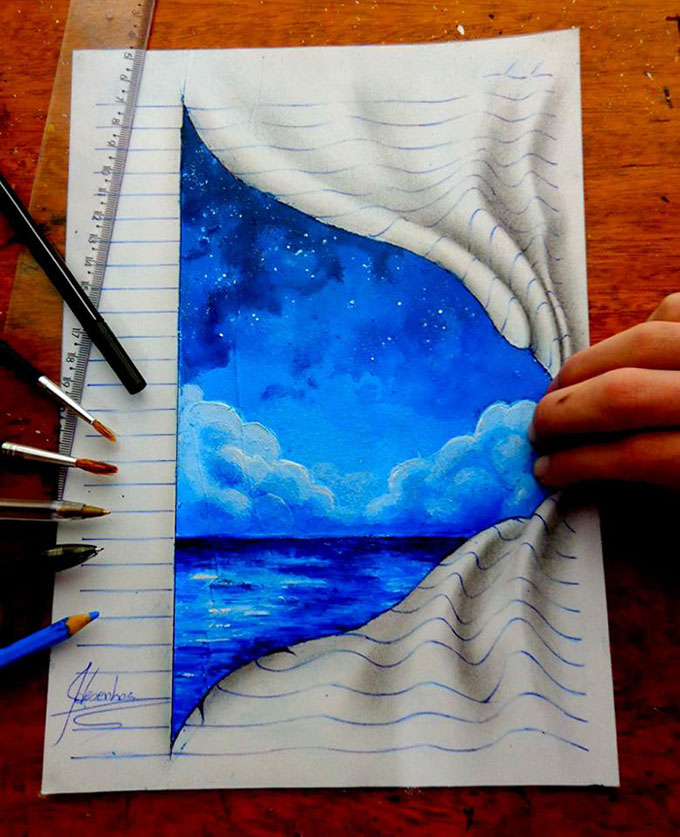 This self taught teenager draws mind bending 3d art with for How to make creative drawings