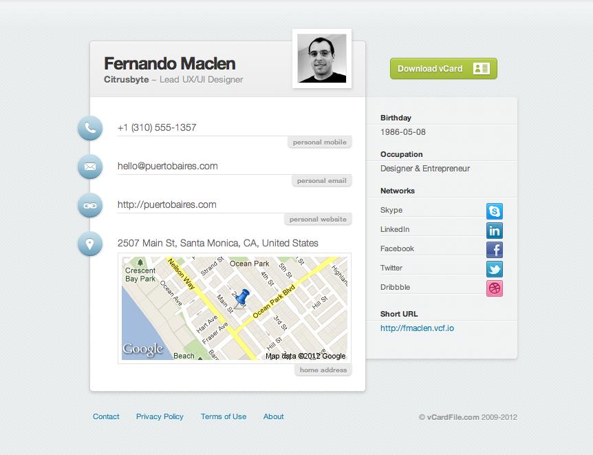 VCard Profile by Fernando Maclen
