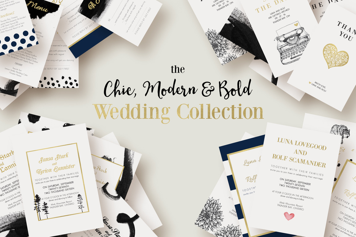 Diy wedding a design guide for brides creative market blog chic modern and bold wedding collection stopboris Gallery
