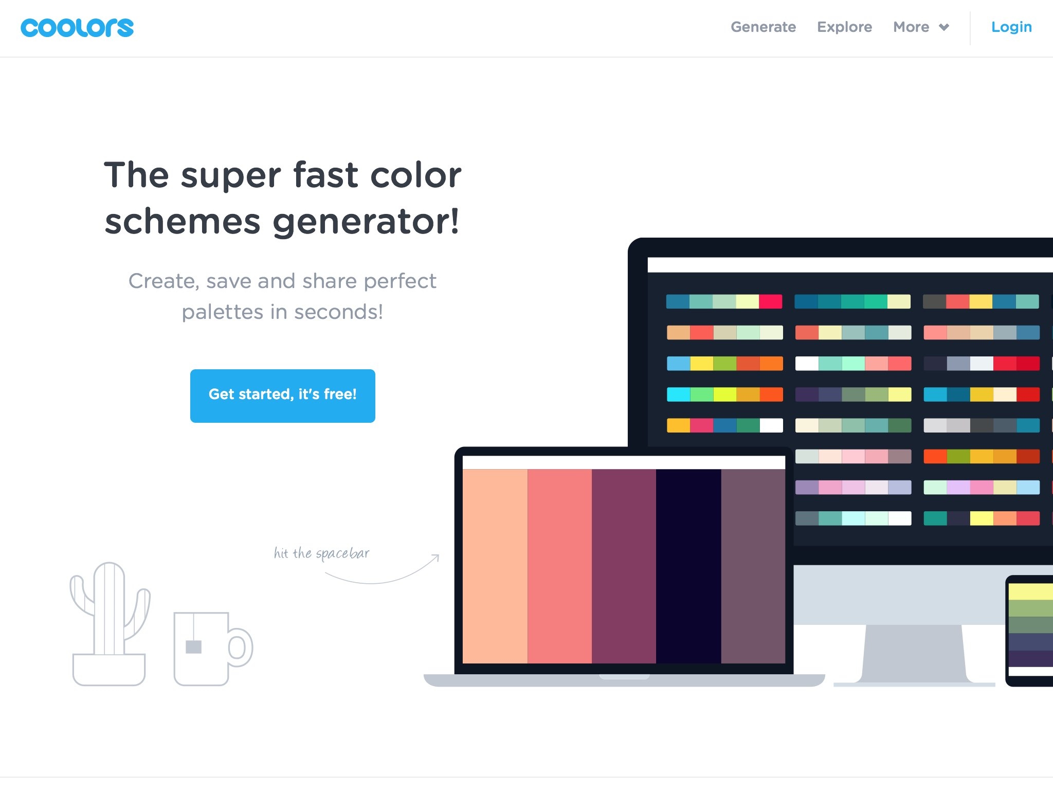 Generate infinite color palettes for your designs and share, export or save it in your profile.