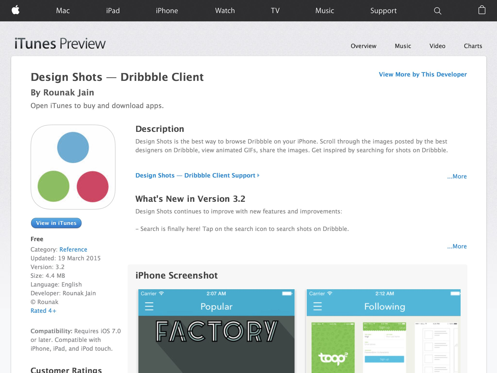 Read reviews, compare customer ratings, see screenshots and learn more about Design Shots — Dribbble Client. Download Design Shots — Dribbble Client and enjoy it on your iPhone, iPad and iPod touch.