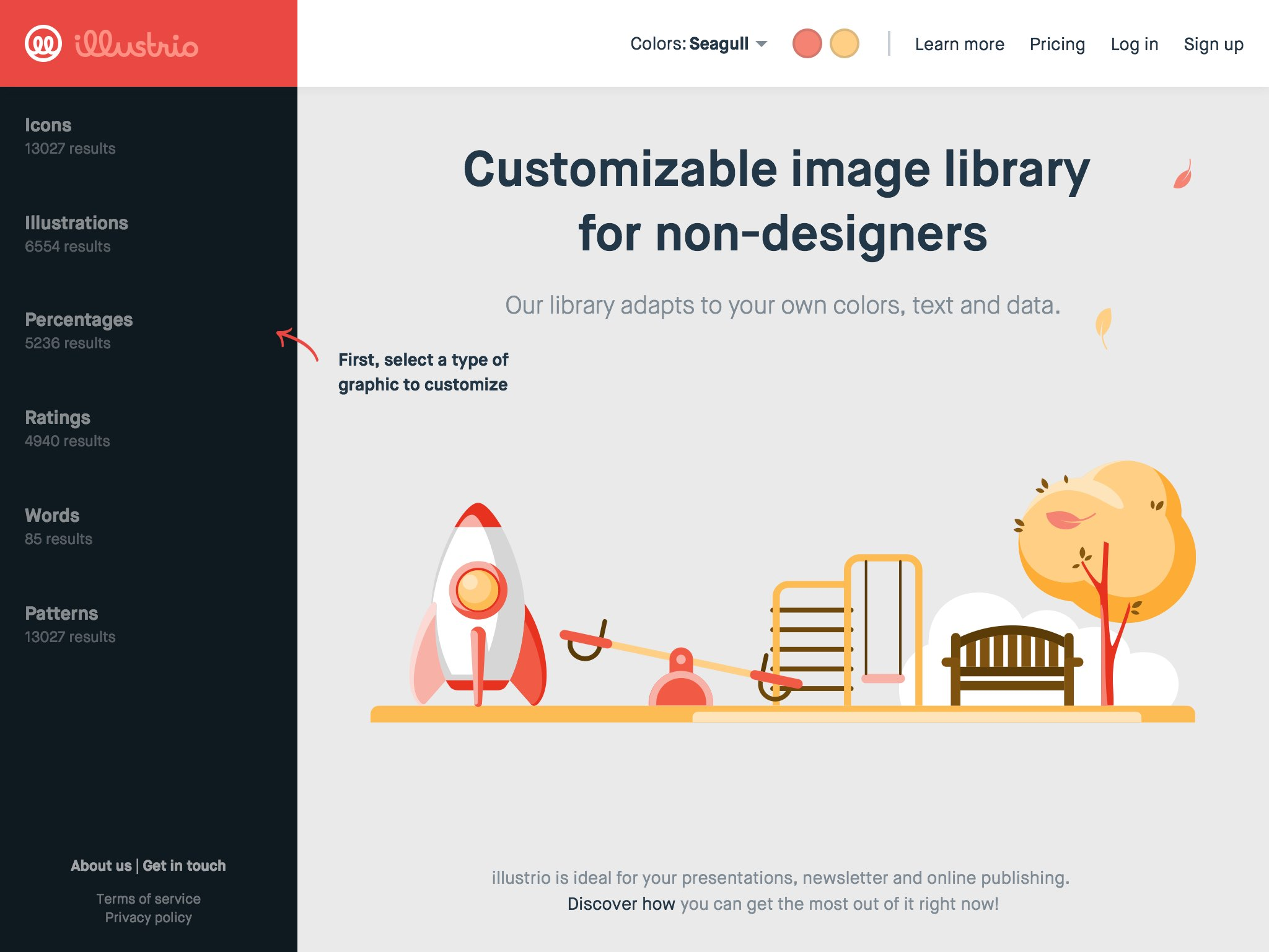illustrio offers an extensive library of images you can customize with your own colors, text and figures.