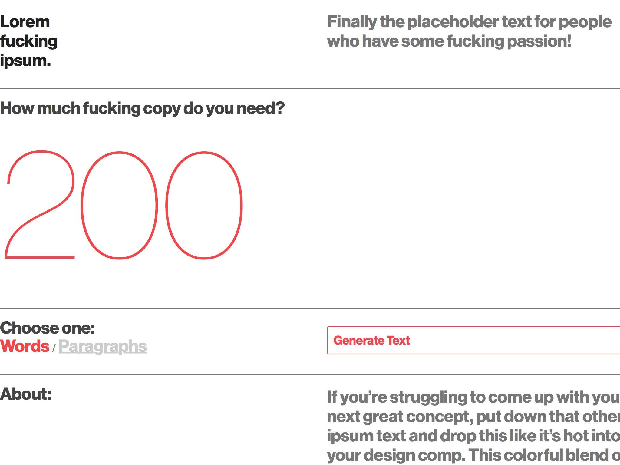 Lorem fucking ipsum: A Good Fucking Design Advice Service.