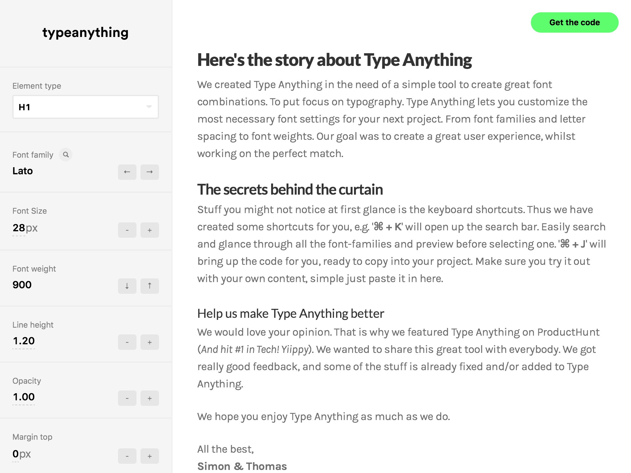 Type Anything is a free and awesome typography tool to create and test font combinations for your projects