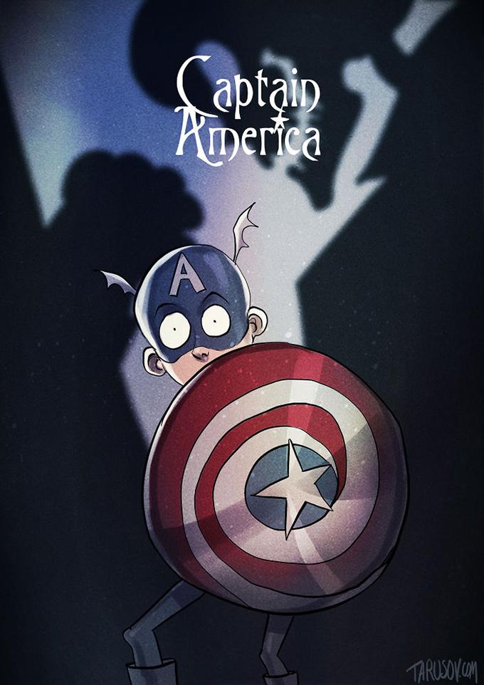 Illustrator reimagines classic superheroes as tim burton characters tim burton captain america toneelgroepblik Image collections