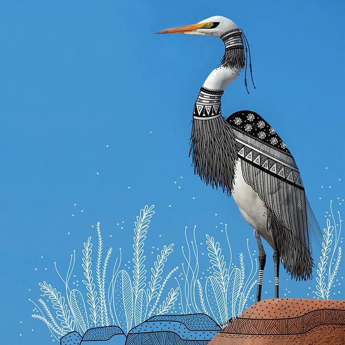 illustrated white bird