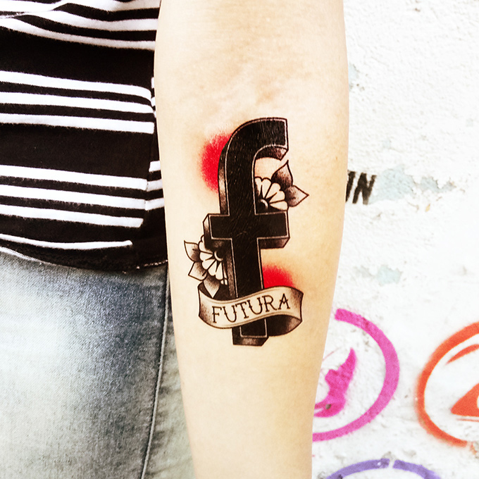 f is for Futura tattoo