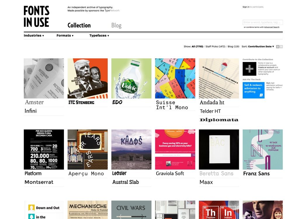 A searchable archive of typographic design, indexed by typeface, format, and industry.