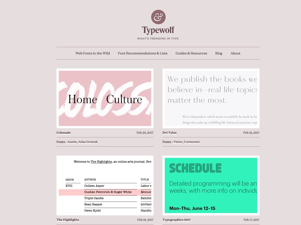 Typewolf helps designers choose the perfect font combination for their next design project—features web fonts in the wild, font recommendations and learning resources.