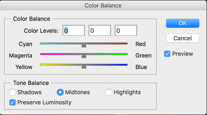 Color balance PS