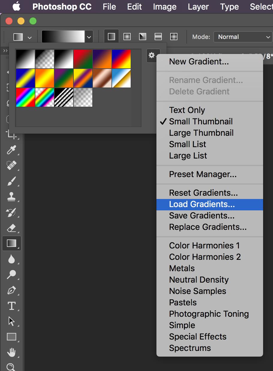 Installing Photoshop Gradients
