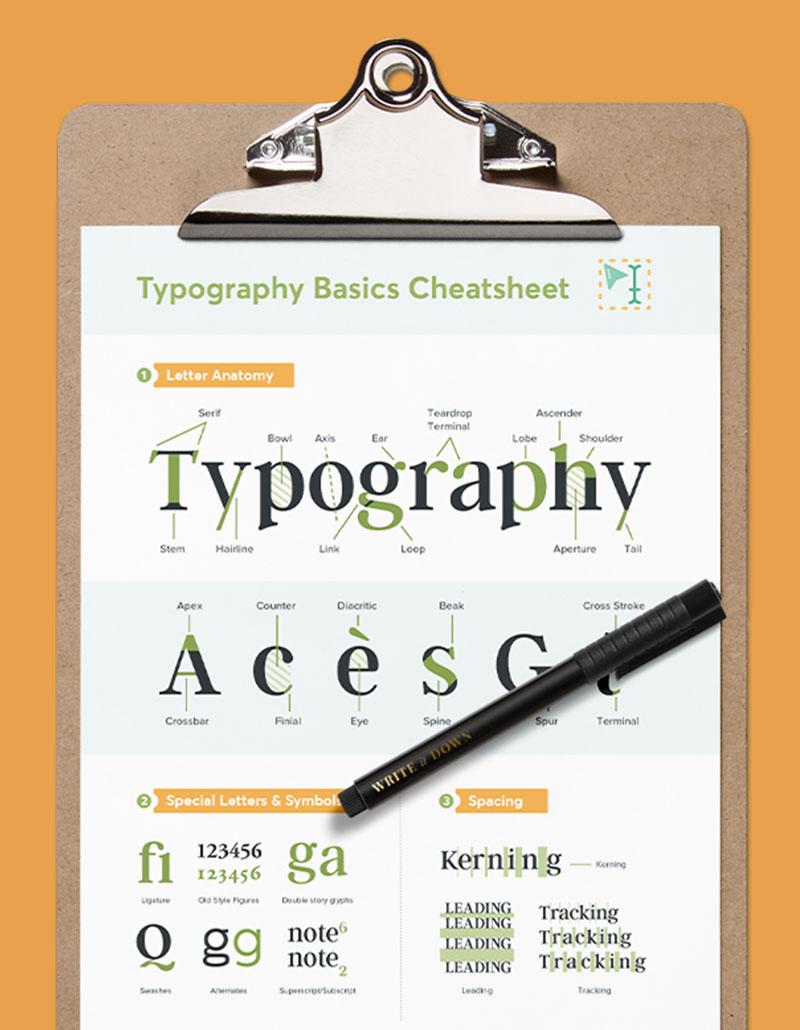 Free Typography Basics Cheatsheet: Anatomy, Classification & Special