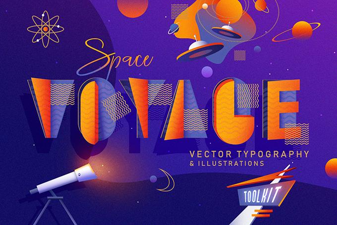Vector Space Voyage typography và hình minh họa