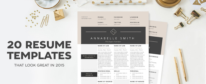 20 resume templates that look great in 2015 - Fashion Design Resume Template