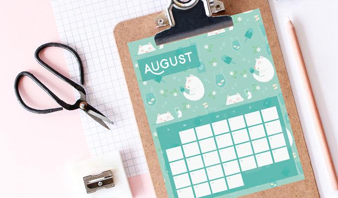Free Download: August Printable Calendar